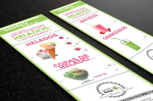 Diseño cartas heladería premium